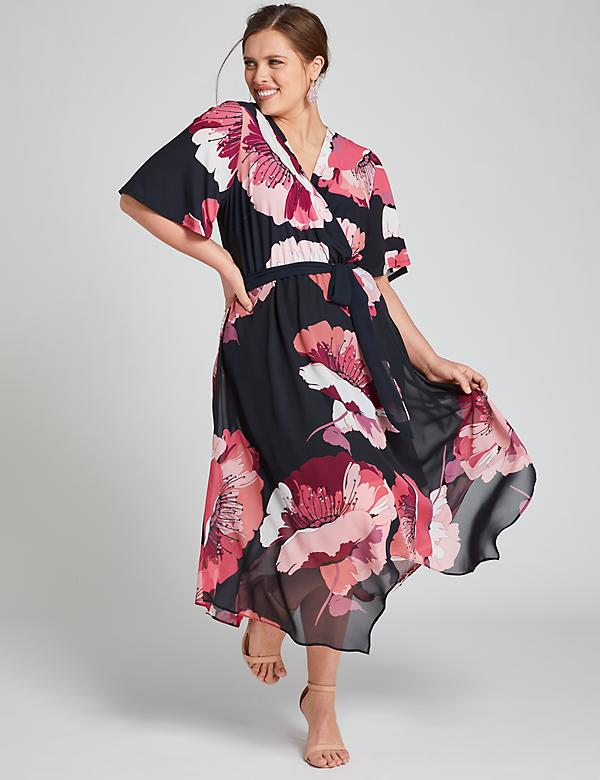 Floral Crossover Midi Dress