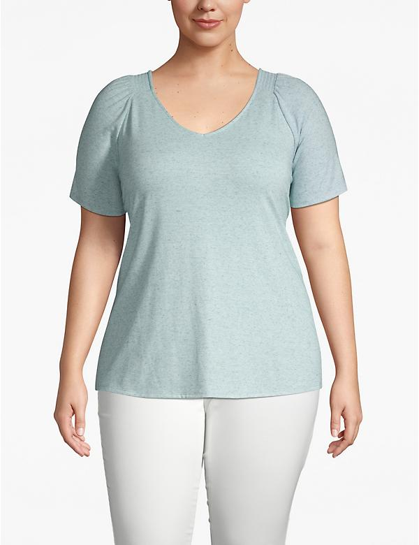 Heathered Shirred-Shoulder Tee