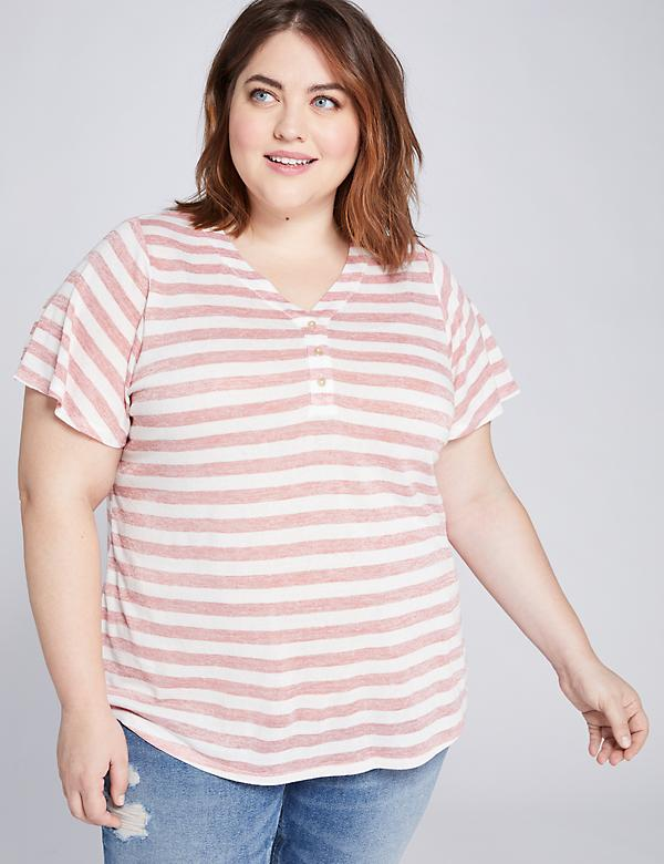 Striped Flutter-Sleeve Henley Tee