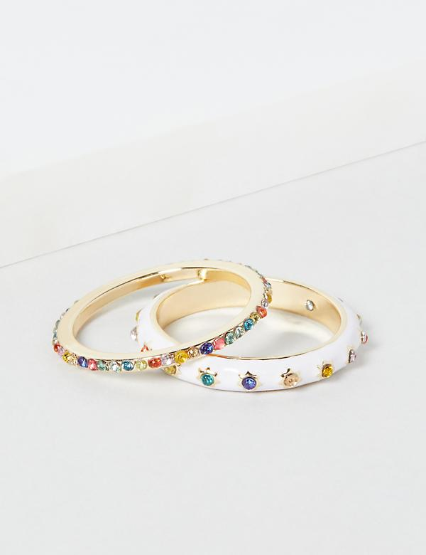 Faceted Stone Rings 2-Pack - Rainbow