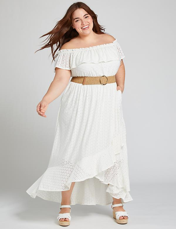 Eyelet Off-The-Shoulder Maxi Dress