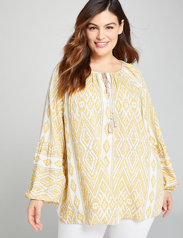 Blouson-Sleeve Peasant Top