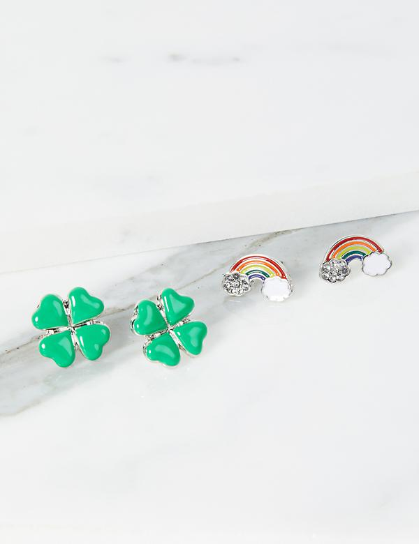 Clover & Rainbow Stud Earrings - 2-Pack