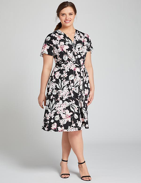 Floral Crossover Fit & Flare Dress