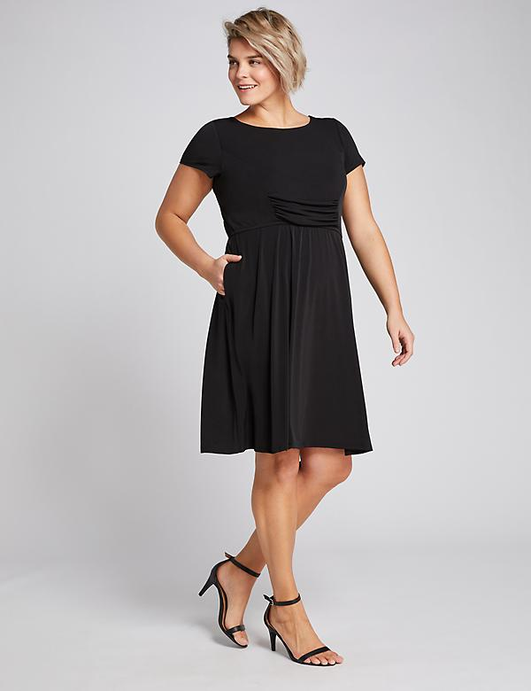 Ruched Boatneck Fit & Flare Dress