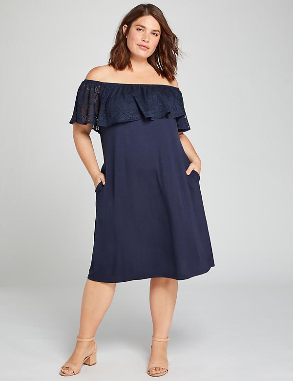 Burnout Flounce Off-The-Shoulder Swing Dress