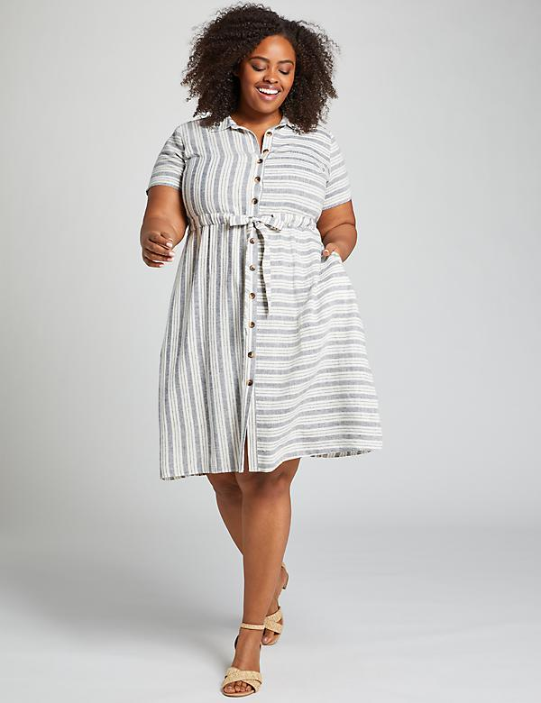 Striped Fit & Flare Shirtdress