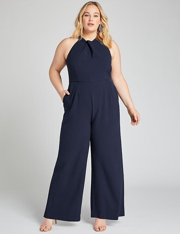 Twist-Neck Halter Jumpsuit