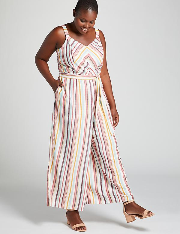 Mitered-Stripe Crop Jumpsuit