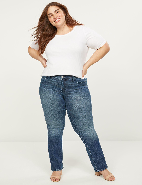 lane bryant women's seven7 boot jean - medium wash 24 medium denim