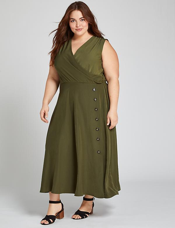 Crossover Tie-Waist Midi Dress