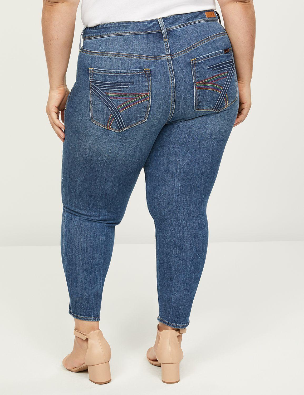 lane bryant women's seven7 skinny jean - medium wash with rainbow embroidery 20 medium denim