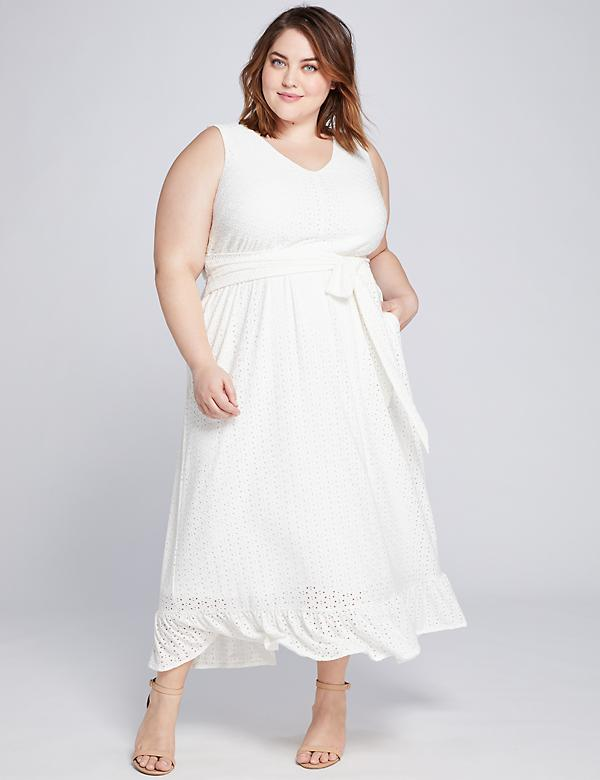 Ruffle-Hem Eyelet Midi Dress