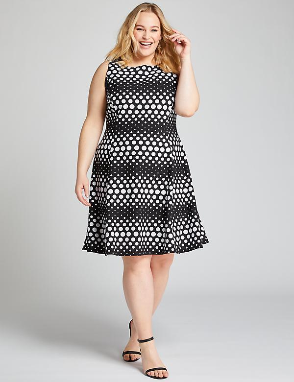 Geo Dot Fit & Flare Dress