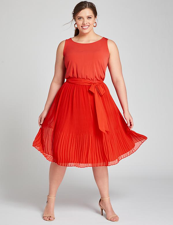 Mixed Media Pleated Fit & Flare Dress