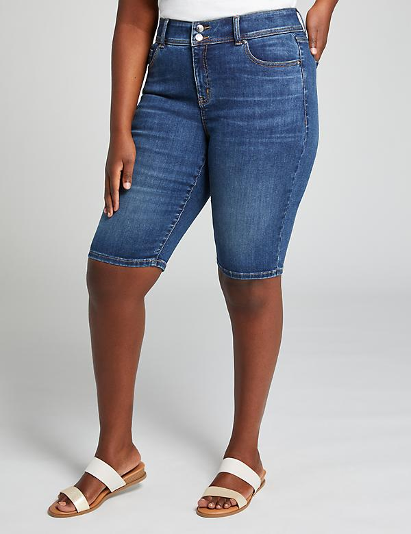 Tighter Tummy Fit High-Rise Denim Bermuda Short - Medium Wash