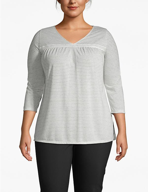 Effortless Chic Striped Crochet-Yoke Tee