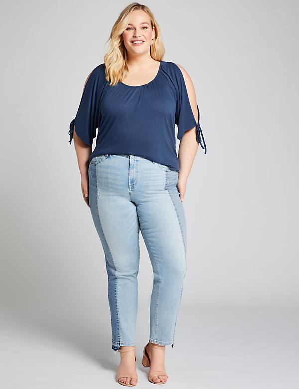 High-Rise Straight Crop Jean - Two-Tone