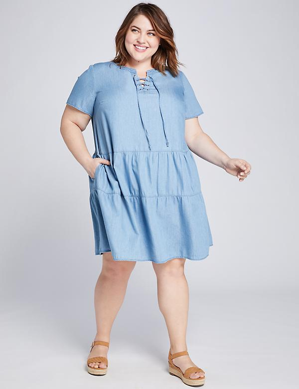 Chambray Tiered Swing Dress