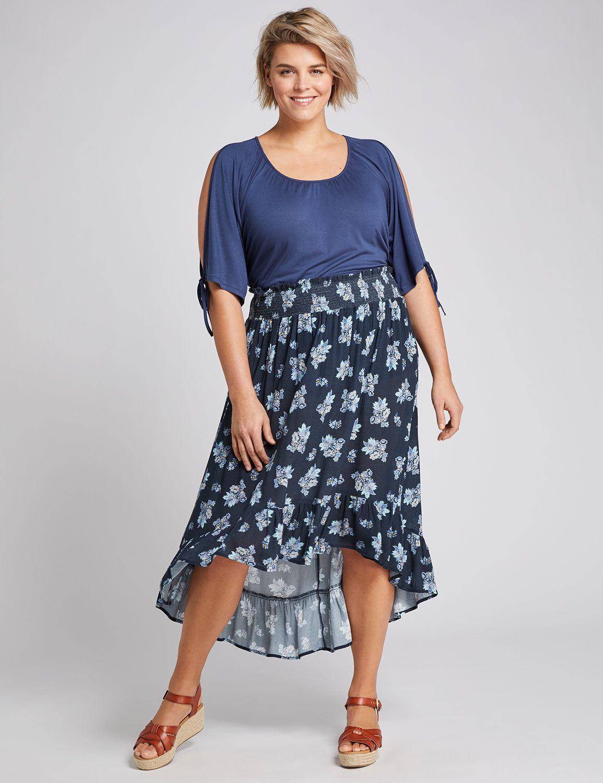 #skirt,Lane Bryant Women's Smocked-Waist High-Low Maxi Skirt 28 Blue Floral,