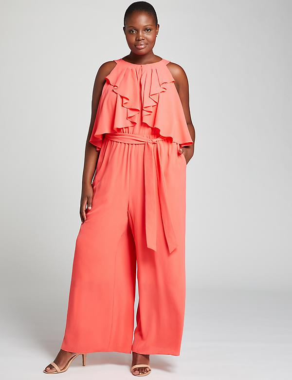 Ruffle-Front Halter Ankle Jumpsuit
