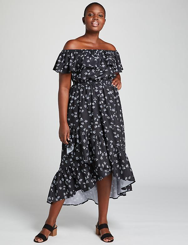 Off-The-Shoulder High-Low Maxi Dress