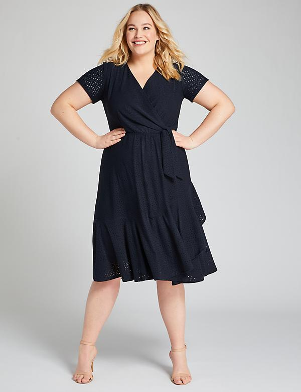 Crossover Eyelet Fit & Flare Dress