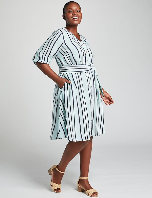 Textured Stripe Fit & Flare Shirtdress
