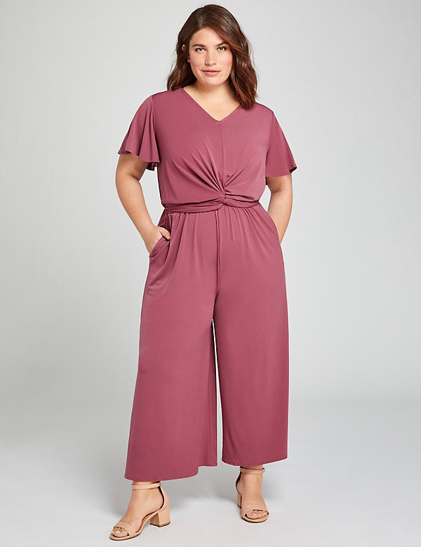 Twist-Front Wide Leg Crop Jumpsuit