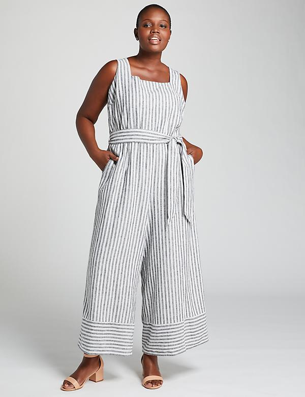 Striped Square-Neck Jumpsuit