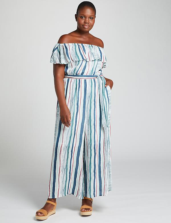 Off-The-Shoulder Wide Leg Crop Jumpsuit