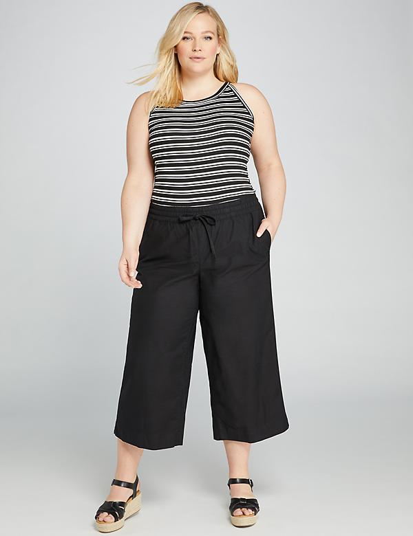 Pull-On Wide Leg Crop Pant