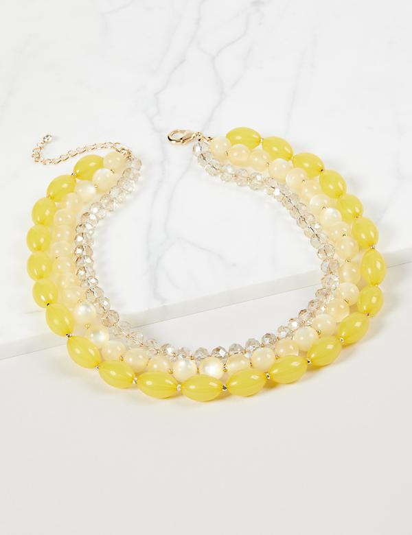 3-Layer Beaded Necklace - Yellow