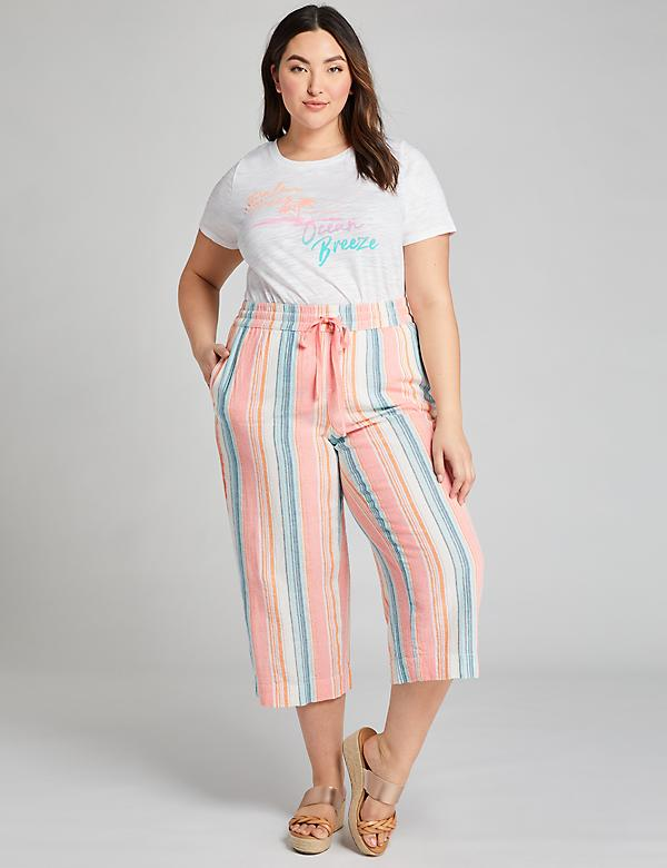 Pull-On Wide Leg Crop Pant - Striped