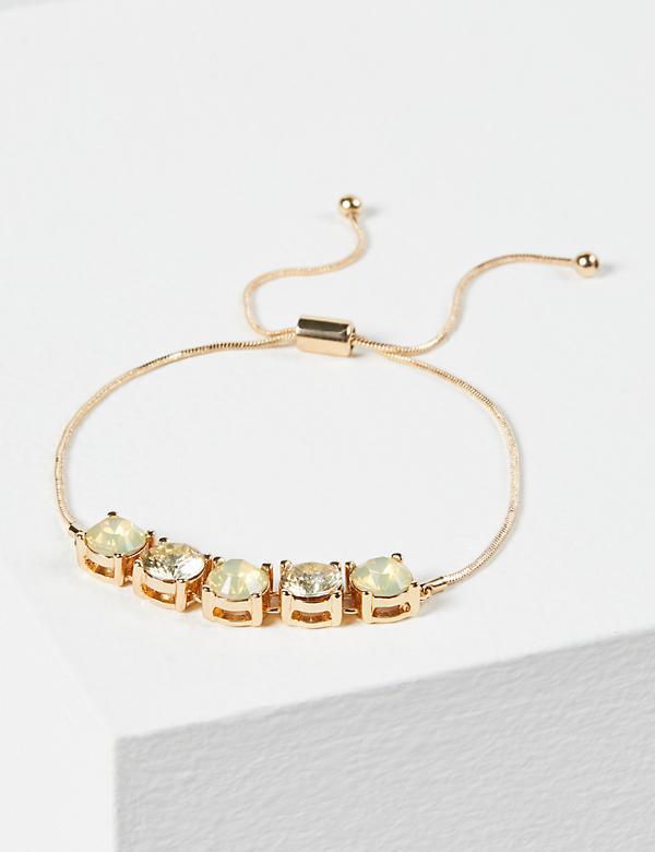Faceted Stone Adjustable Bracelet - Yellow