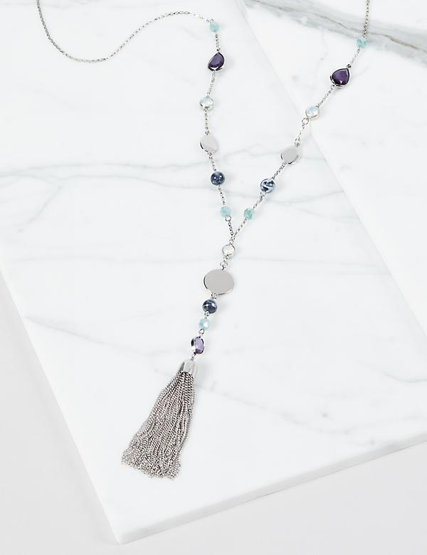 Resin Tassel Y-Necklace - Blue