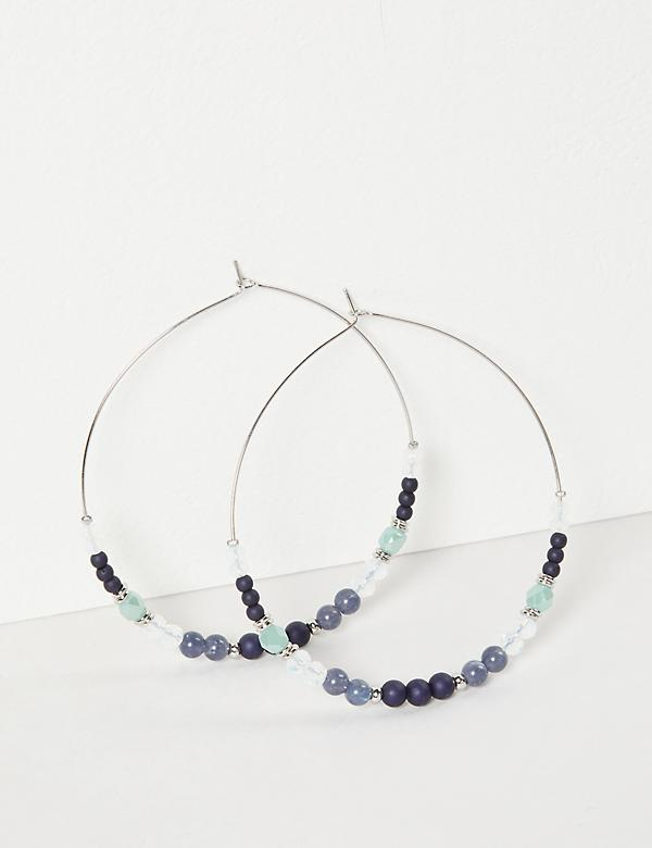 Beaded Wire Hoop Earrings