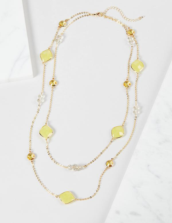 Multi-Layer Resin Necklace - Yellow