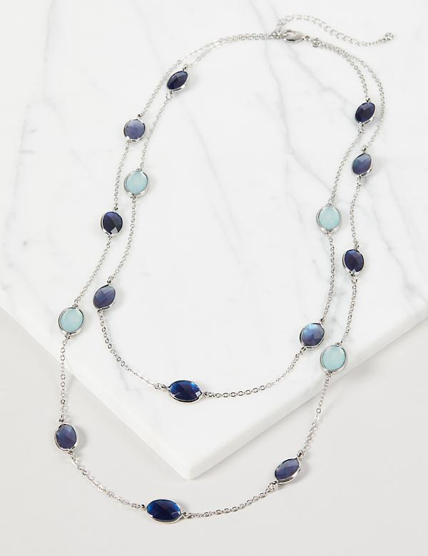Multi-Layer Resin Necklace - Blue