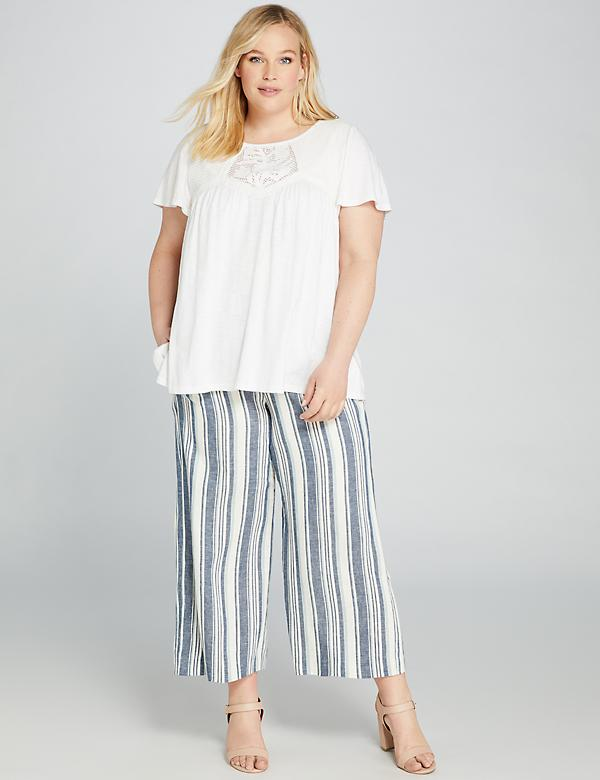 Striped Pull-On Wide Leg Crop