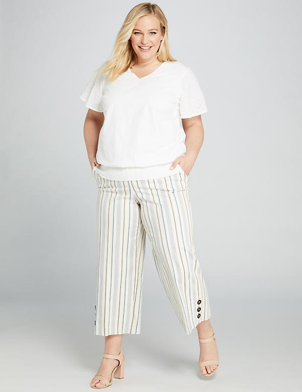 Striped Power Pockets High-Rise Wide Leg Crop With Button Hem