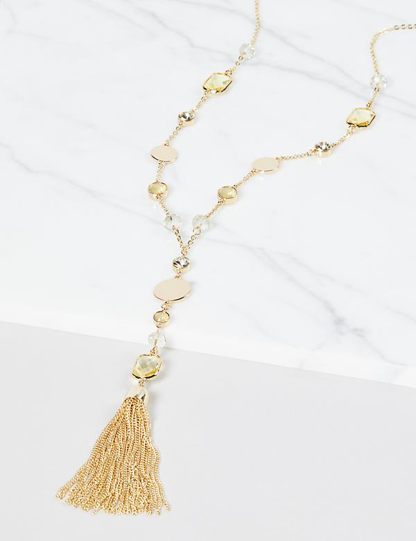 Resin Tassel Y-Necklace - Yellow