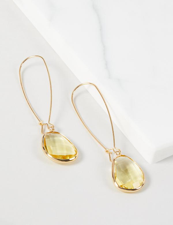 Faceted Resin Wire Drop Earrings