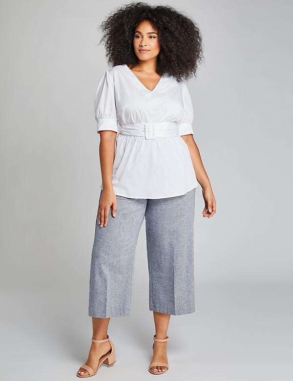 Pull-On Wide Leg Crop - Chambray