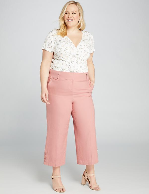 Power Pockets High-Rise Wide Leg Crop - Button Hem