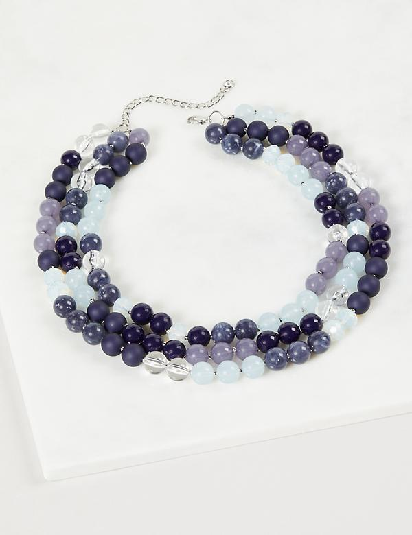 3-Layer Beaded Necklace - Blue