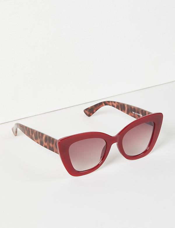 Cateye Sunglasses With Leopard-Print Arms