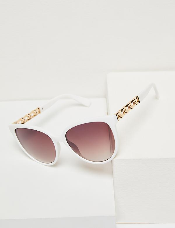 Embellished Cateye Sunglasses - White