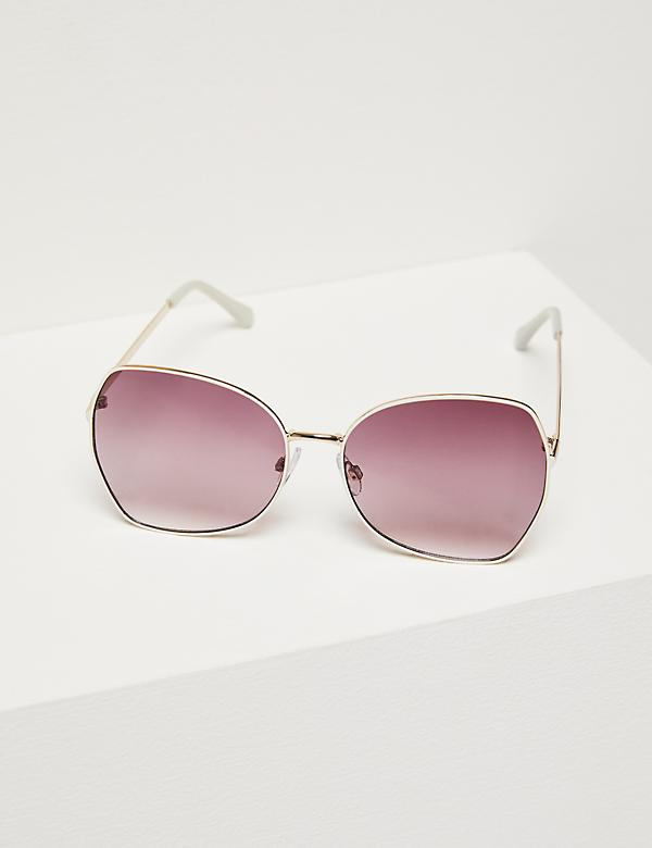 Oversized Butterfly Sunglasses - White