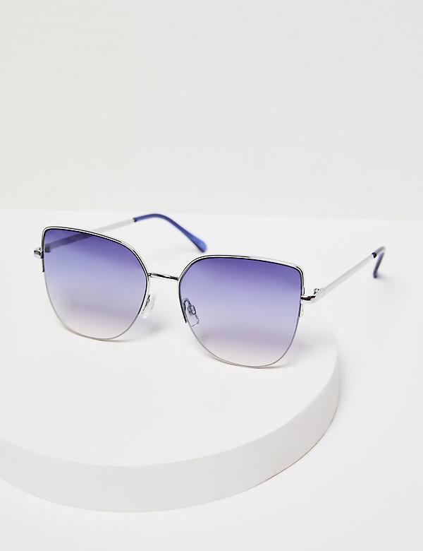 Oversized Metal Sunglasses with Blue Lens